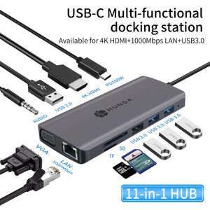 Multifunction Usb type c hub adapter 10 in 1 USB C 100 W Power Delivery station adapter with usb
