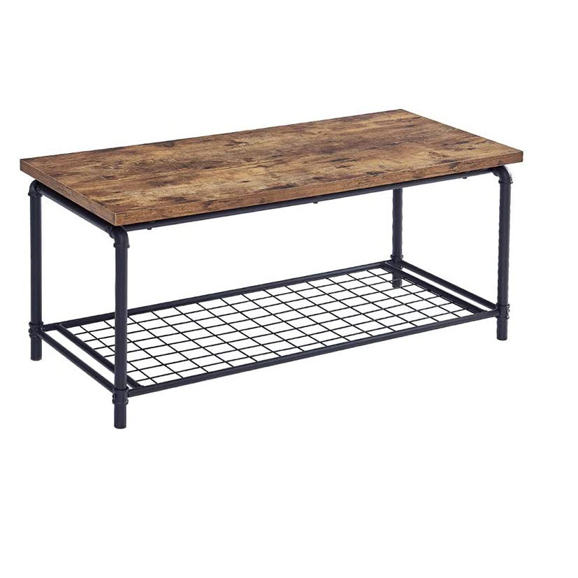 Industrial Style Rectangular Coffee Table Tall Center Table with Storage Layer Accent Furniture for Living Room