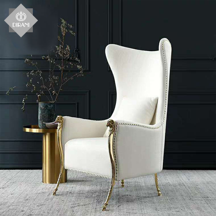 luxury modern white indoor fancy living room furniture armchair solid wood leg velvet fabric single leisure accent chair