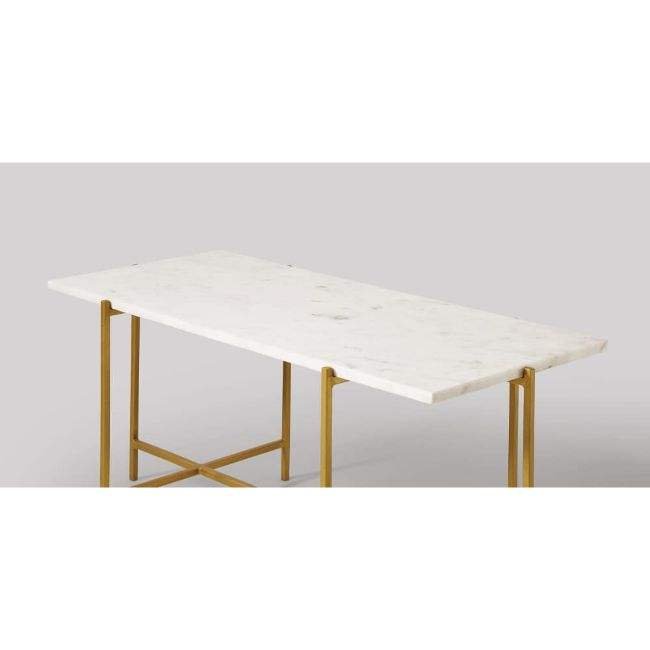 INDIAN LUXURY FURNITURE BRASS GOLD METAL BASE MARBLE DINING TABLE RECTANGLE WHITE COFFEE TABLE