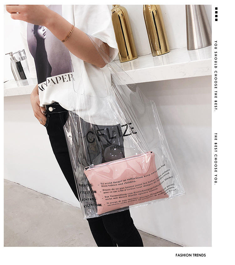 Factory Price Custom Fashion Handbag Shopping Transparent Clear Plastic PVC Tote Bags