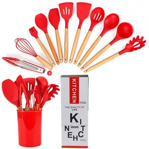 Top Trend 12PC Silicone Kitchen Utensil Set Beech Handle 12PC Utensil Tools Colorful Spatula Set