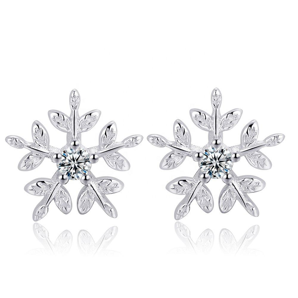 S925 Sterling Silver Snowflake Stud Earrings With Cubic Zirconia Crystal For Women Girls