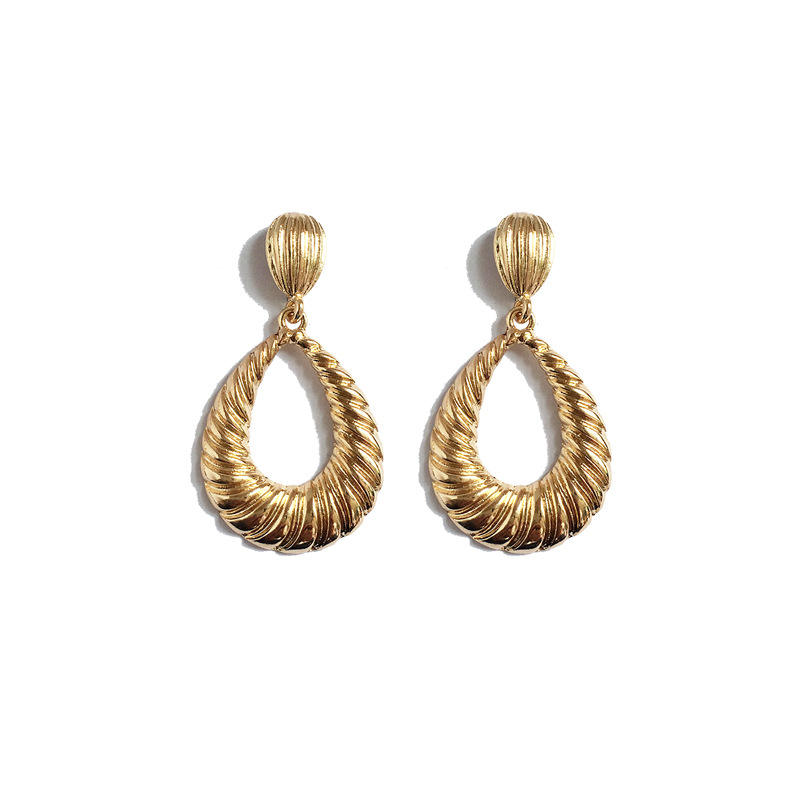 European Style Vintage Gold Textured Geometric Water Drop Shaped Dangle Earrings Jewelry