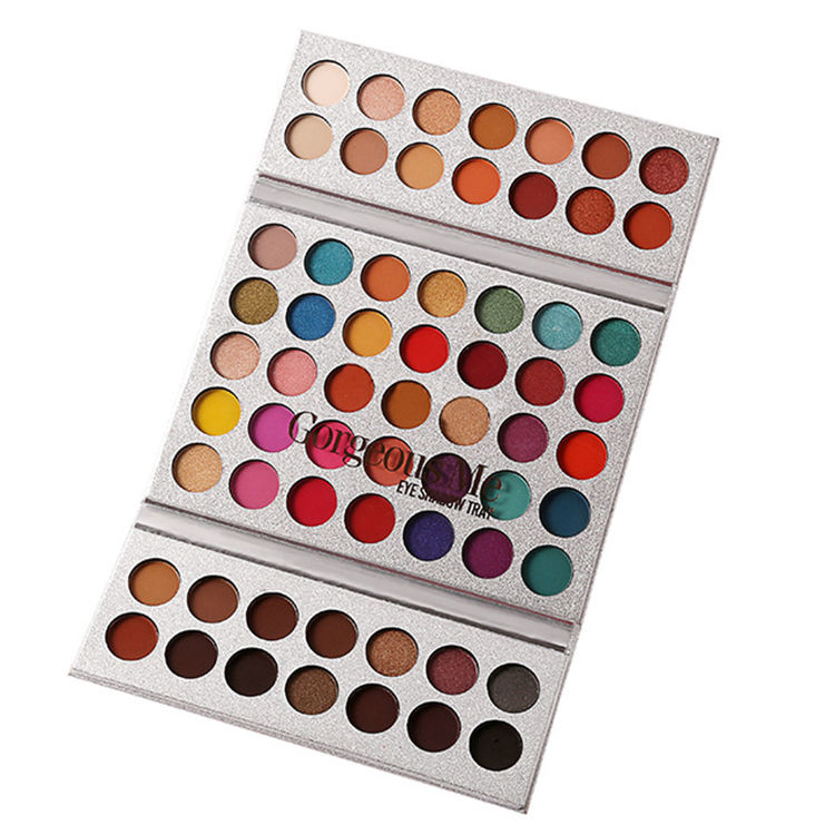 Amazon Best Seller Beauty Glazed Professional 63 Colors Eyeshadow Makeup Palette Glitter Shimmer High Pigments Powder Cosmetics