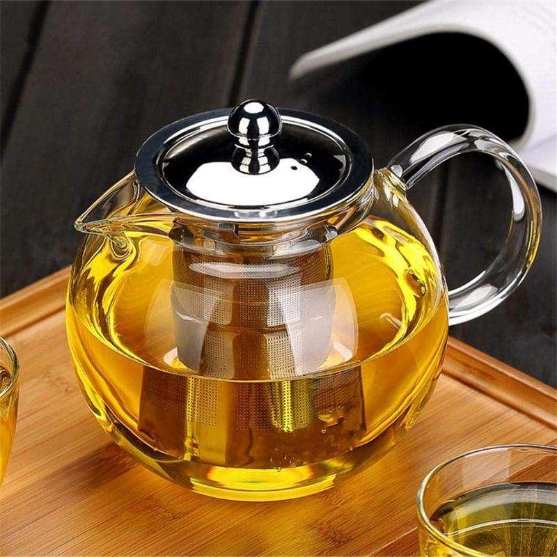 Stainless Steel Tea Infuser Tea Kettle Stove Top Glass Teapot Tea Maker 32oz