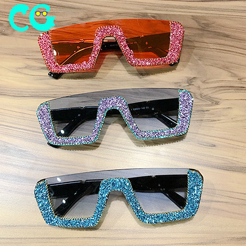 2019 New Sunglasses women Brand Designer luxury Bling Stones Sunglasses Men Half Frame sun glasses fashion shades women UV400