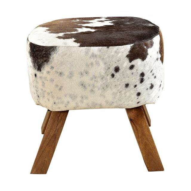 Hair On Leather Wooden Footrest Stools Wooden Fabric Foot Stool Ottomans