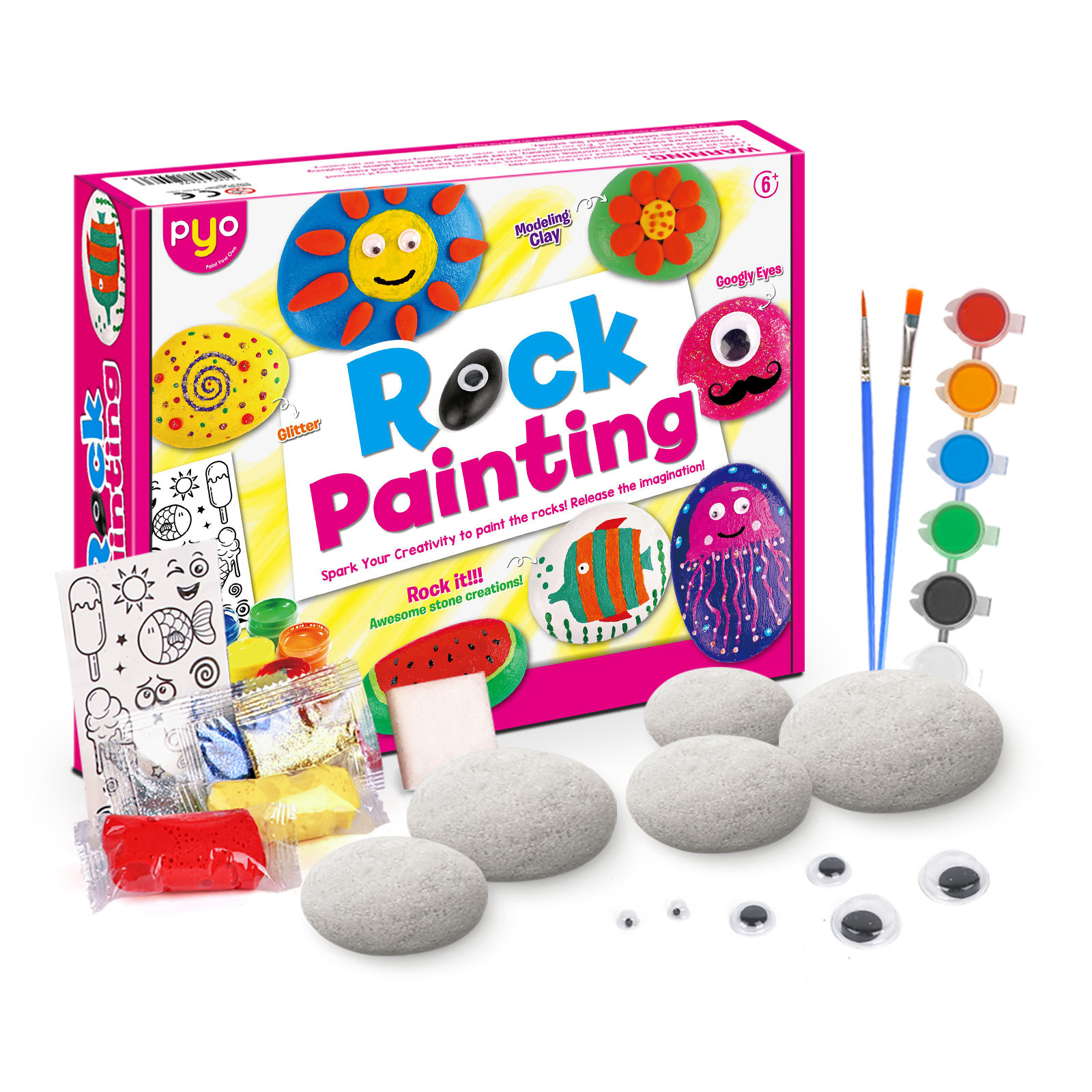 2020 Amazon hot sell Paint Your Own Children Diy Arts And Crafts Sets For Kids Rock Painting Kits Other Toys for kids