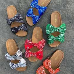 2020 New Thick Bottom Bow Satin Fish Slippers Slides Women Soft Sole Flat Botton Slippers Sandals Indoor Beach Slides For Women