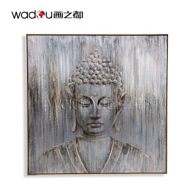 Premium Quality Printed Metal Framed Paintings Modern Art Buddha Handmade Paintings On Canvas