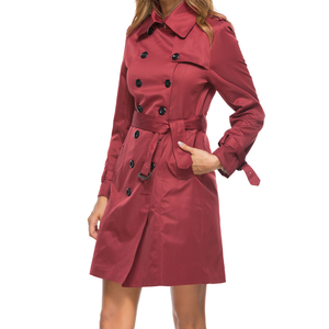 Women Trench Coat Casual Turn-down Collar Long Sleeve Long Coat Double Breasted Windbreaker Coat plus size