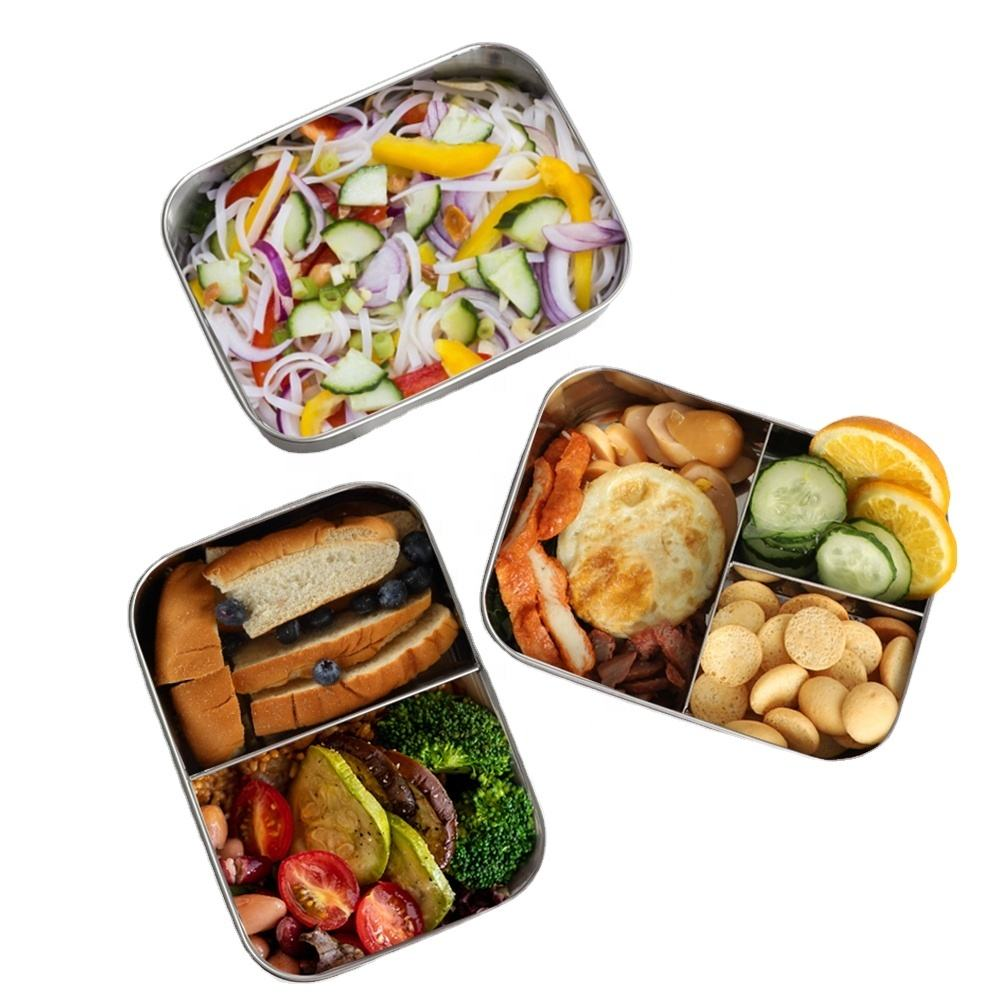 Nicety 3 compartment stainless steel lunch box compartments eco friendly lunch box bento boxes baby food storage