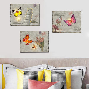 Set 3 Beautiful Flower Butterfly Postage Stamp Canvas painting led picture on canvas art led painting