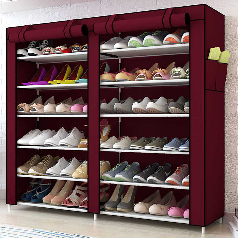 Solid Color Double Rows High Quality Shoes Cabinet Shoes Rack Large Capacity Shoes Storage Organizer Shelves DIY Home FurnitureS