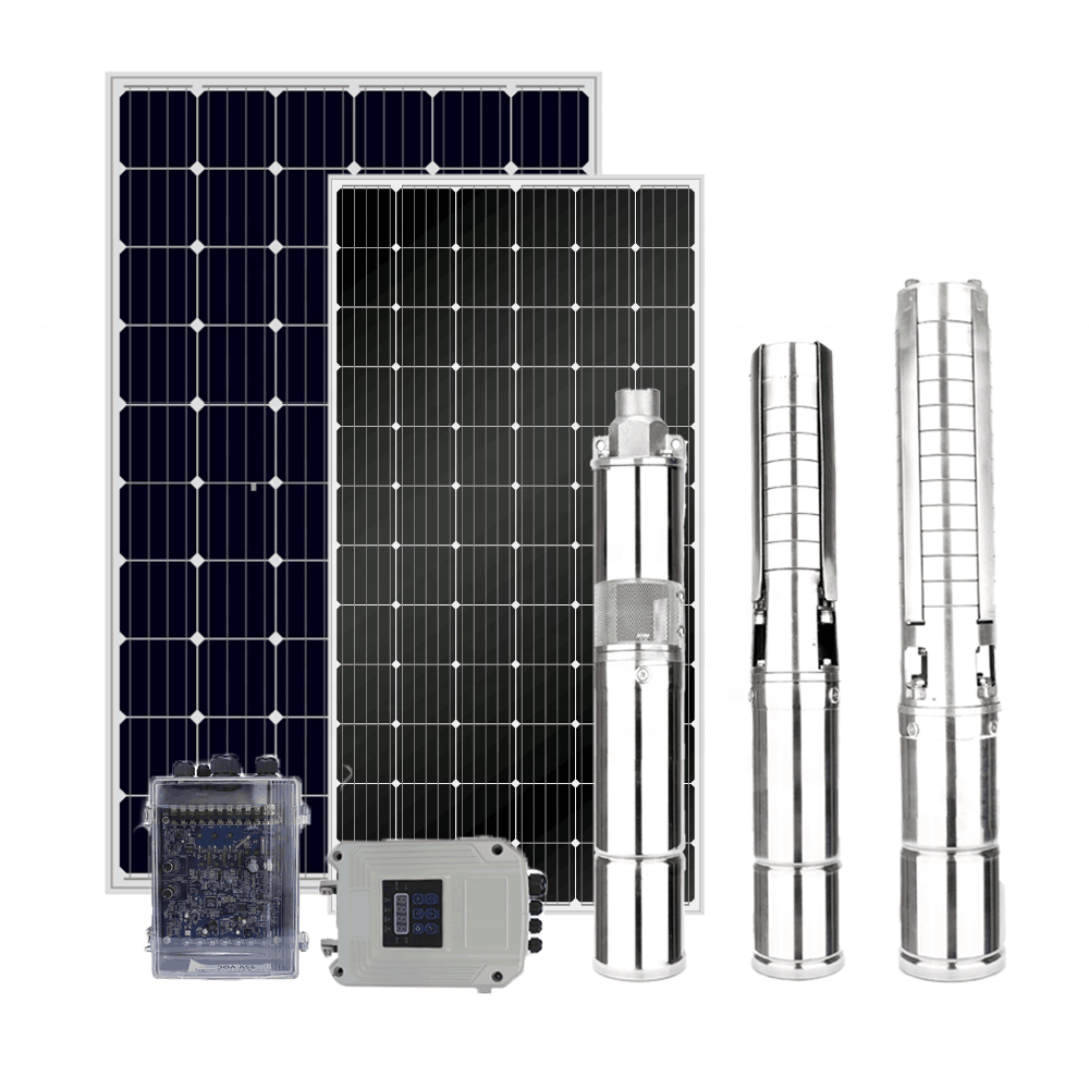 Complete borehole DC solar pump and panel solar water pump system for farm