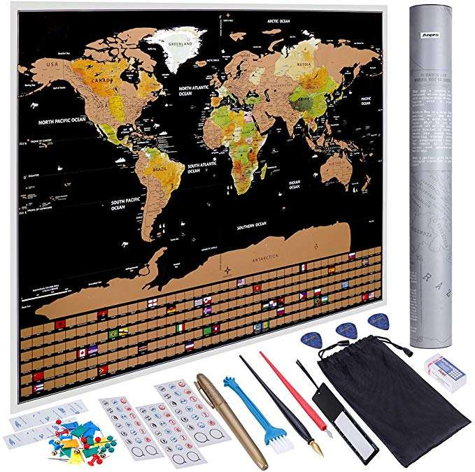 82.5x59.5 cm Scratch Off World Map Scratch World Map Travel Map with Country Flags Abundant Accessories Kit