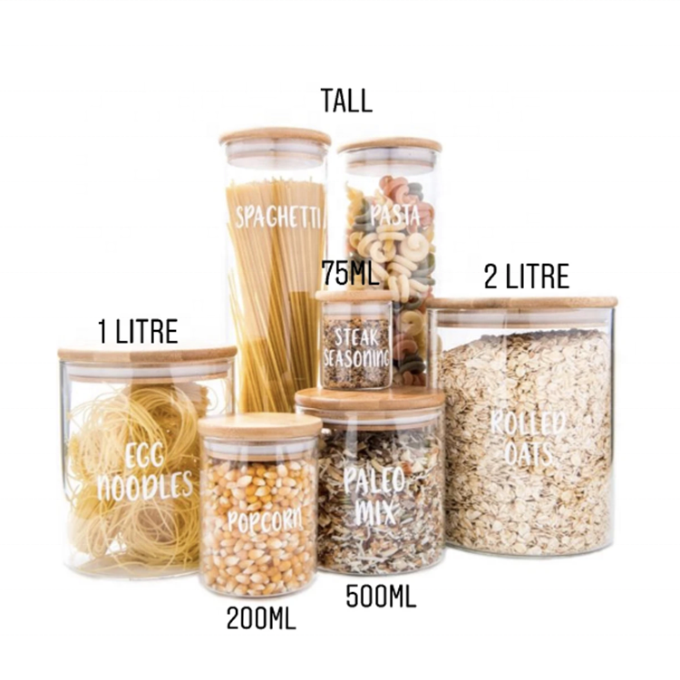 Airtight storage jar glass container for food