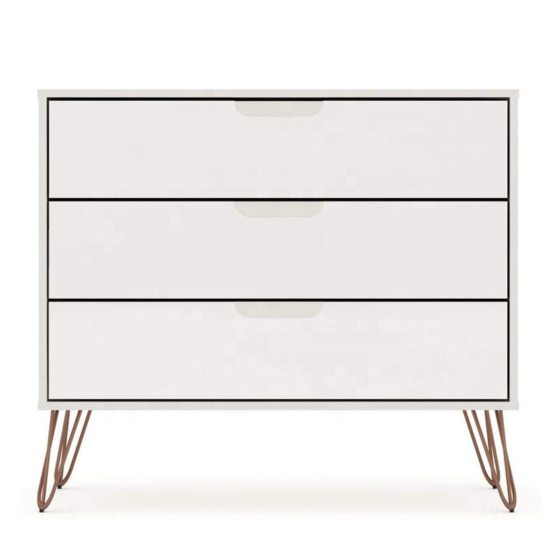 Contemporary luxury wood chest of 3 drawers living room storage chest of drawers for bedroom knock down mini chest drawer