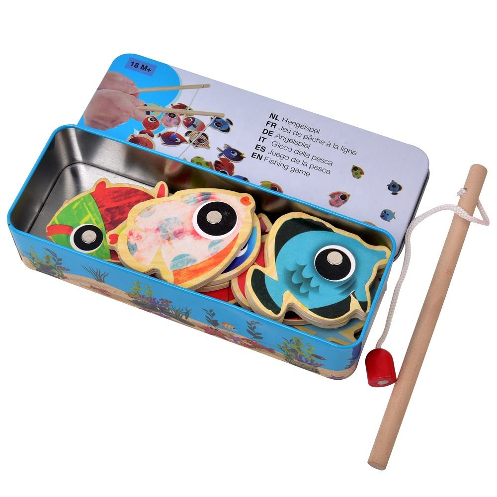 Interesting Educational Toys Wooden Magnetic Fishing Game Equipped With 2 Magnetic Fishing Rods Iron Box