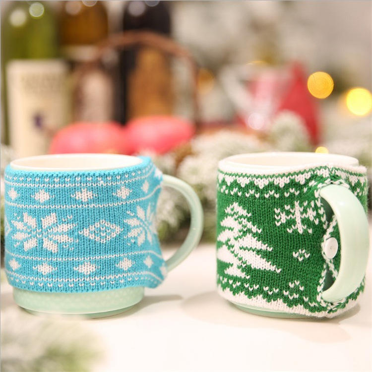 Wool Knitting Christmas Mug Cover Cups Xmas Decor for Home Merry Christmas 2019 Noel Santa Claus Navidad Gifts Cup sets