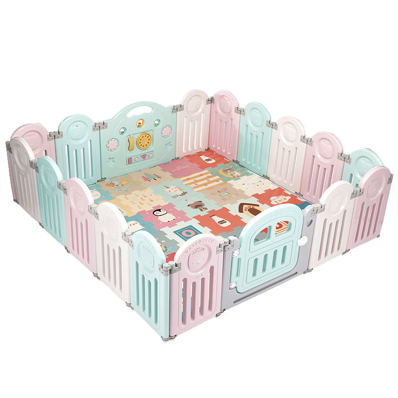 Cute style cartoon pattern Folding children's playpen with fun toys and gate