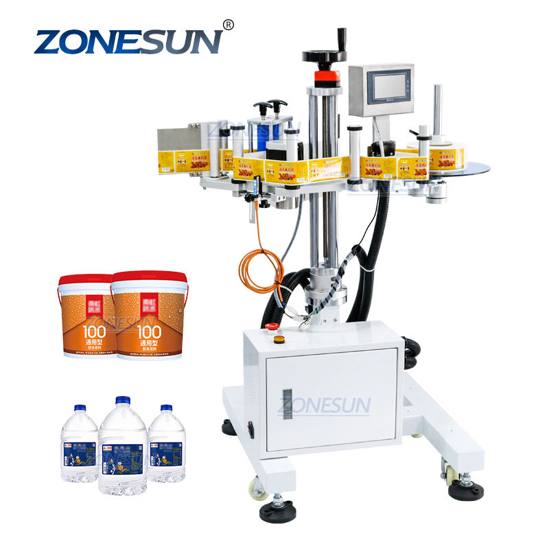 ZONESUN ZS-TB852 Water Sticker Automatic Line Side Bottle Labeling Machine For Carton Plastic Bucket Bottle