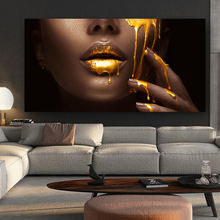 African Woman Wall Art Canvas Prints Modern Golden Girl Art Posters And Prints african art canvas print wholesale