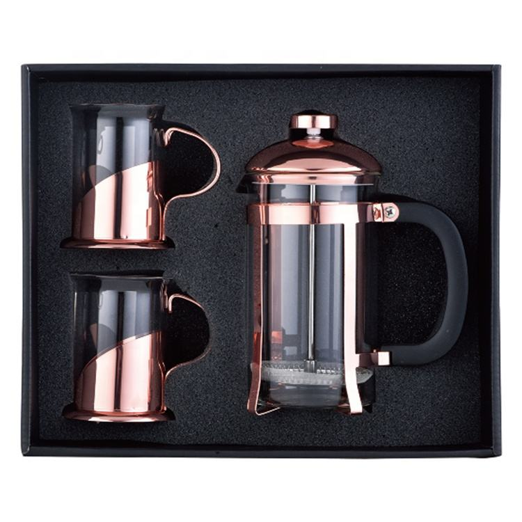 Borosilicate glass french press travel mug rose gold portable 1000ml stainless steel french press coffee makers coffee&tea sets