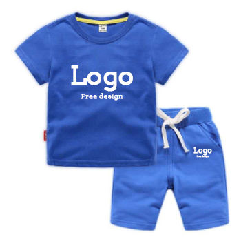 Computer printing Embroidery logo Label customization Kids clothing set Kids solid color cotton knit T-shirt set custom