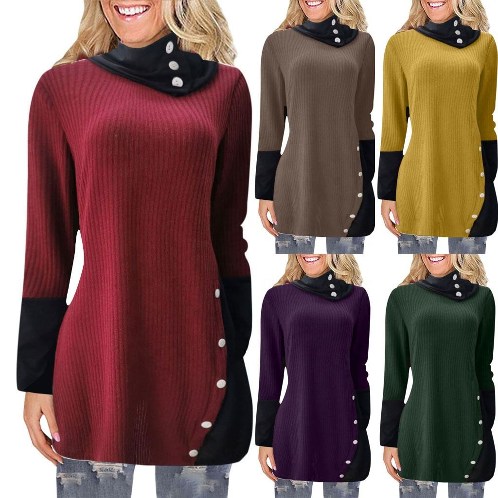 Women's top fall winter new long sleeve irregular dress sweater Woman Long Knitting Top Fashion Casual Long Style
