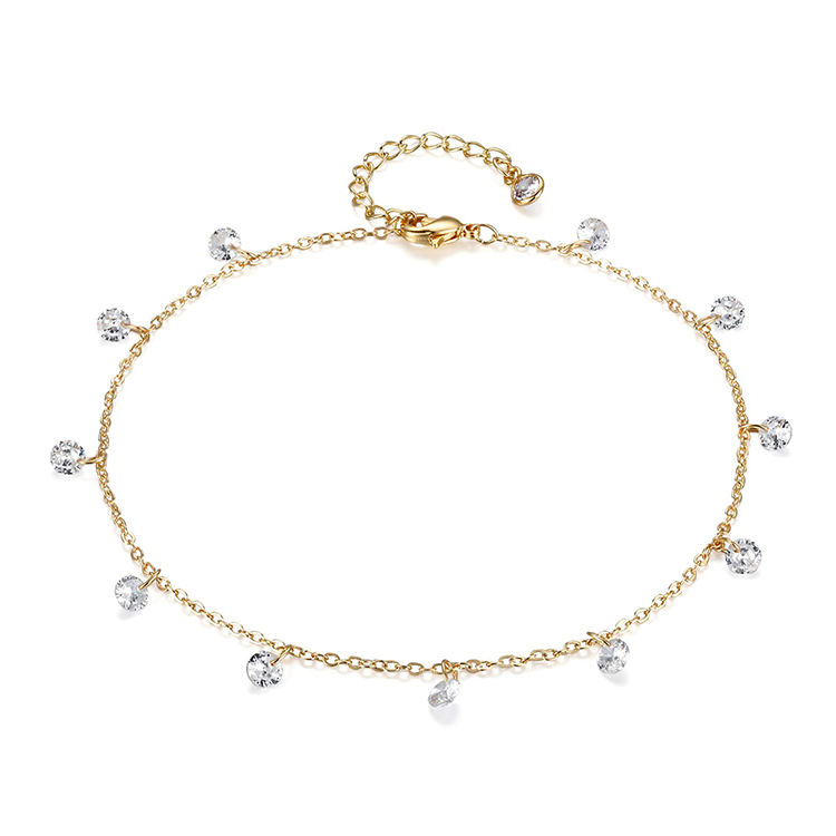 Dainty Ankle Bracelet 14K Gold Filled Cz Foot Chain Anklets Jewelry