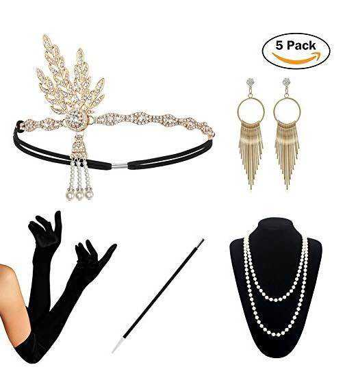 FLAPPER 3PC SET HEADBAND PEARLS NECKLACE GLOVES FANCY DRESS CHARLESTON COSTUME