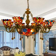 8 lights Bohemian style creative living room dining room bar club colored glass crystal chandelier, Tiffany retro American lamp