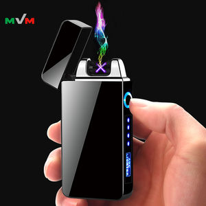 MLT227 Custom Logo Windproof Electric Double Arc Lighter USB Plasma Rechargeable Lighter with LED Battery Indicator