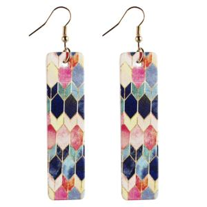 Korean Fashion Long Square Earrings New Leather Earring For Women Gift Party Wedding