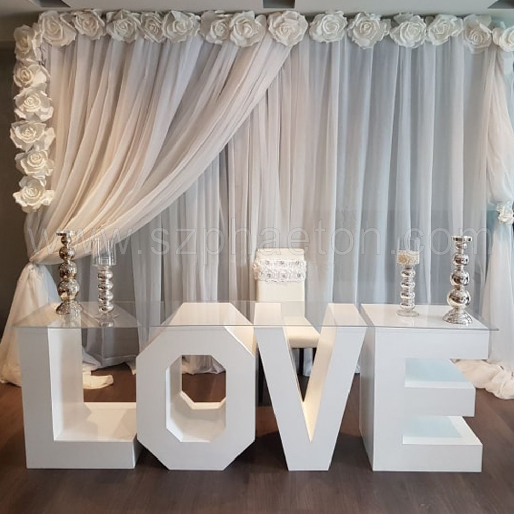 Party supplies wedding love letter cake display table 30 in event decoration, wedding love letter table for wedding decoration