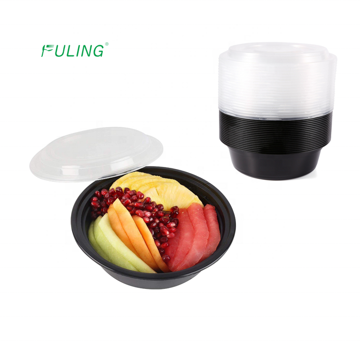 Taizhou Fuling manufacturer black plastic 1 compartment round food prep storage bento boxes with clear vented lid