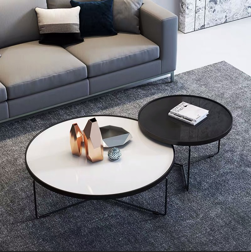 Modern minimalist round iron tempered glass coffee table