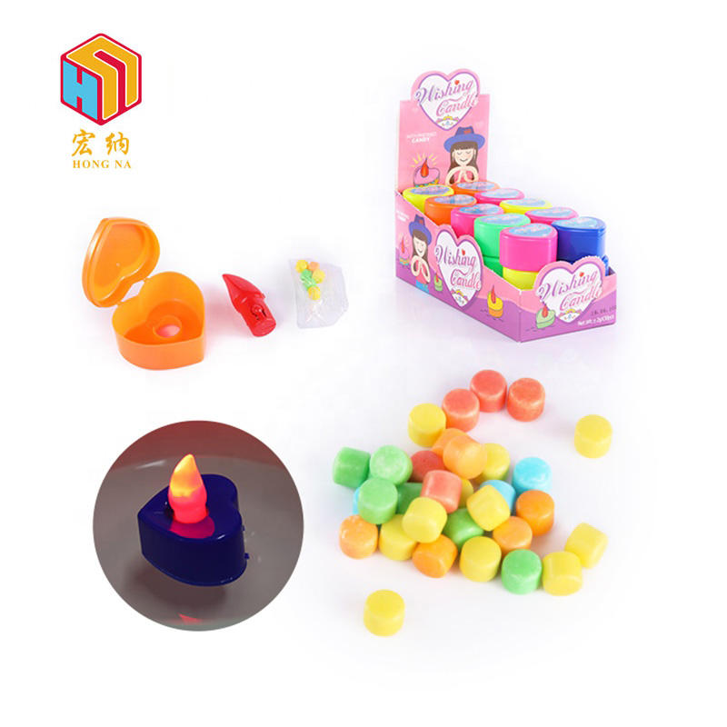 plastic heart shape electronic light up wishing candle candy light toy for sale