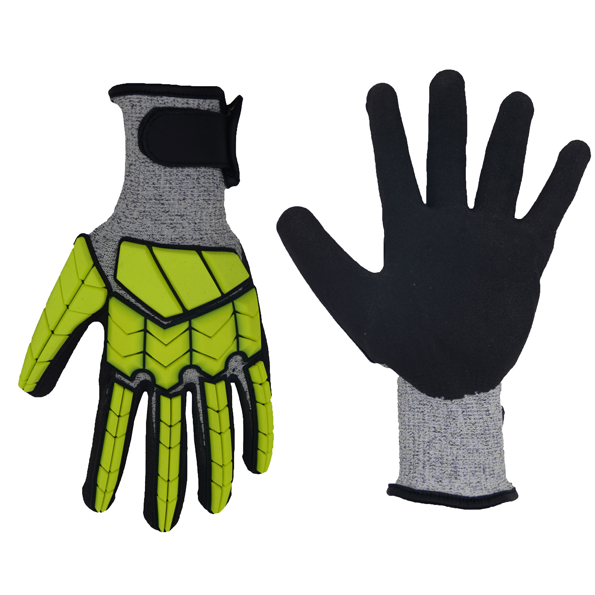 HANDLANDY Breathable Mens Safety Mechanic Work Gloves Cut Resistant Working Gloves Rubber Dipped For Construction Work