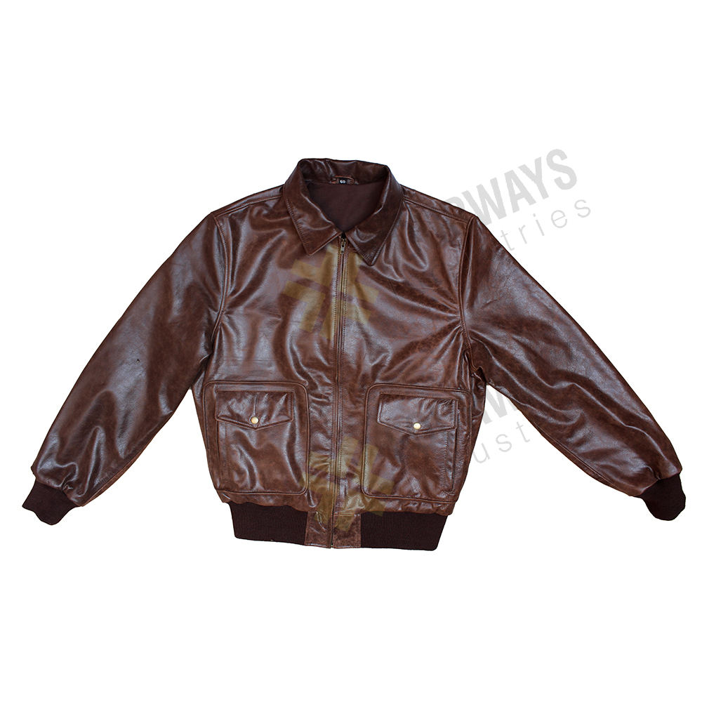 Men's 100% Genuine Heavy Goatskin Leather A 2 Flight Leather Jacket