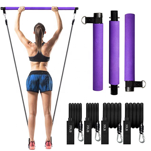 Home gym workout pilates portáteis kit bar haste yoga com <span class=keywords><strong>bandas</strong></span> de <span class=keywords><strong>resistência</strong></span>