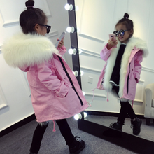 YY10433G Top quality warm fur lined parka coat kids girls winter coat with hood