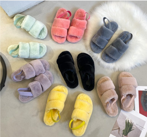 2020 Home House Indoor Slippers Women Furry Slippers Ladies Shoes Cute Plush Fluffy Sandals Women's Fur Slippers Casual