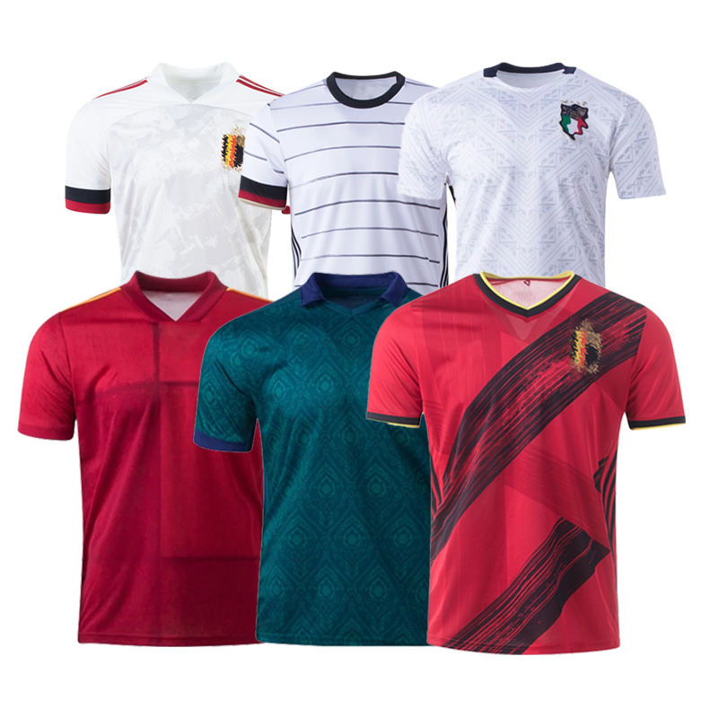 Latest 2020 Euro Belgium England France Italy Netherlands Spain Portugal Team Thai Football Soccer Jersey Wear Camisetas