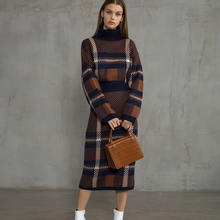 2 Pcs Lux Soft Plaid Long Knit Skirt and Top Sweater Set