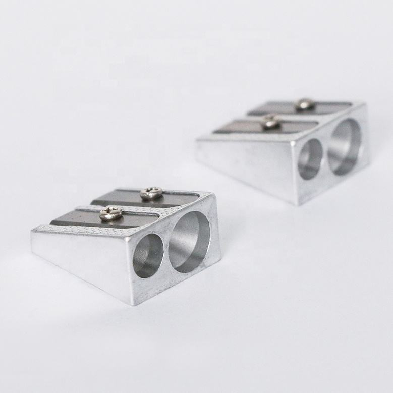 School Stationery Metal Aluminum Double Holes Pencil Sharpener