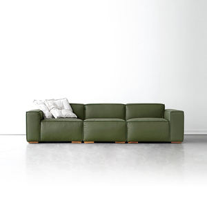 Hot sale living room green leather sofa three seats hot sale bed design