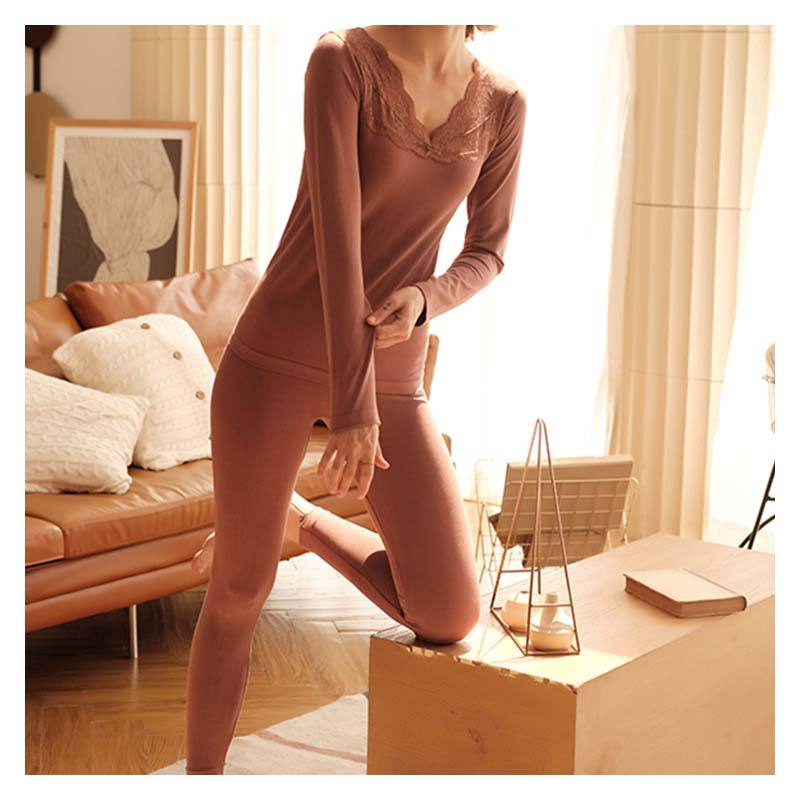 Good Quality Lace Womens Thermal Underwear Long John V-neck Clothes Set